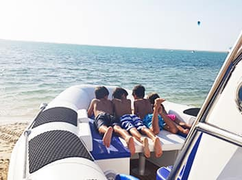 sunbed on amphibious boat