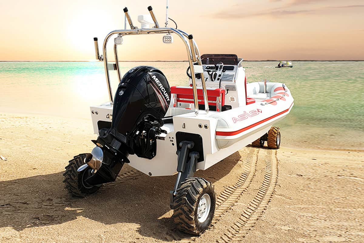 asis amphibious boat on wheels