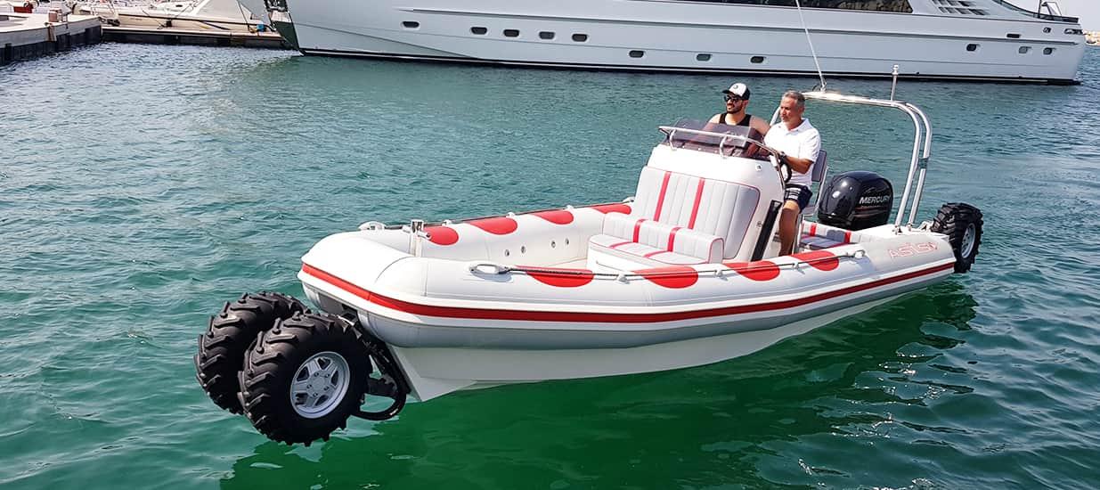amphibious boat in marina