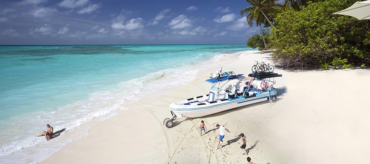 amphibious boat on island