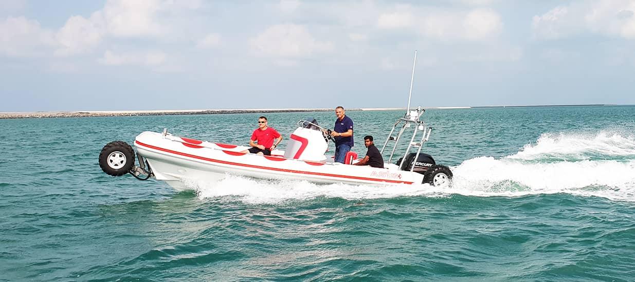 amphibious boat cruising