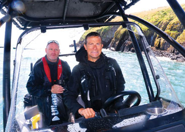 Bear Grylls is impressed by the ASIS Amphibious boat