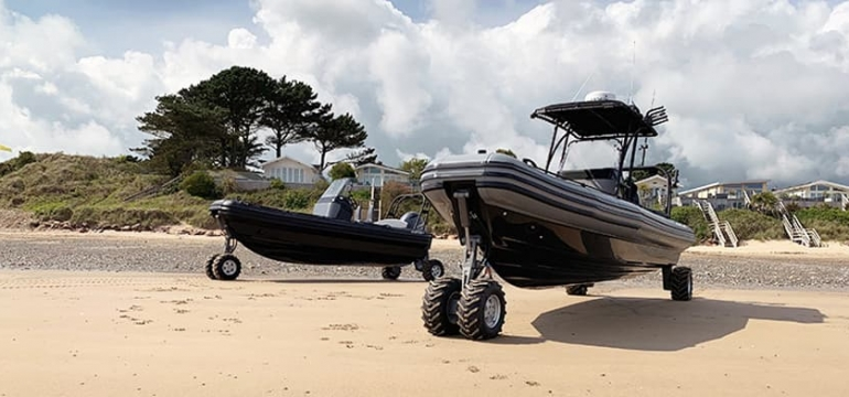 amphibious boats at the boat show